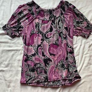 Apt. 9 Black & Purple Paisley Blouse Size Large
